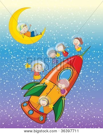 illustration of a kids on moon and spaceship