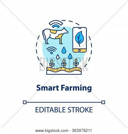 Smart Farming Concept Icon. Modern Agriculture Idea Thin Line Illustration. Manufacturing Automatiza