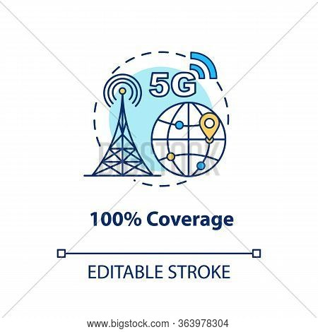 100 Percent Coverage Concept Icon. 5g Technologies Idea Thin Line Illustration. High-speed Connectio