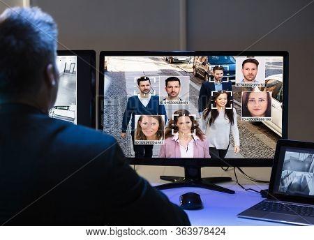 Ai Facial Recognition On Cctv Camera Surveillance Screen