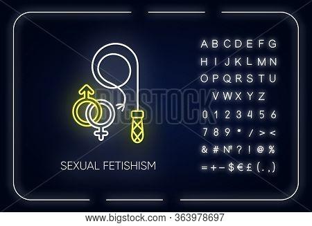 Sexual Fetishism Neon Light Icon. Male, Female Erotic Play. Sex Toy Stimulation. Fixation On Behavio