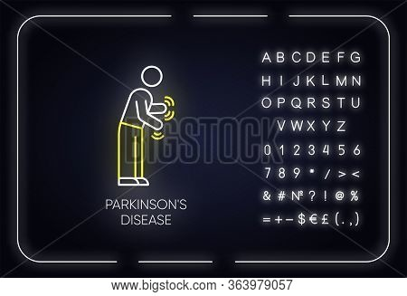 Parkinsons Disease Neon Light Icon. Movement Difficulty. Shaking, Rigidity. Parkinsonian Syndrome. M