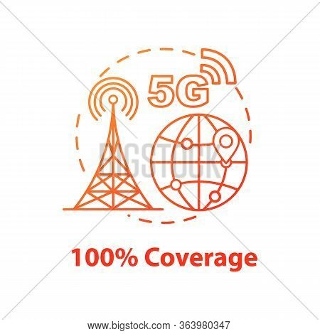 100 Percent Coverage Concept Icon. High-speed Connection. 5g Technologies Idea Thin Line Illustratio