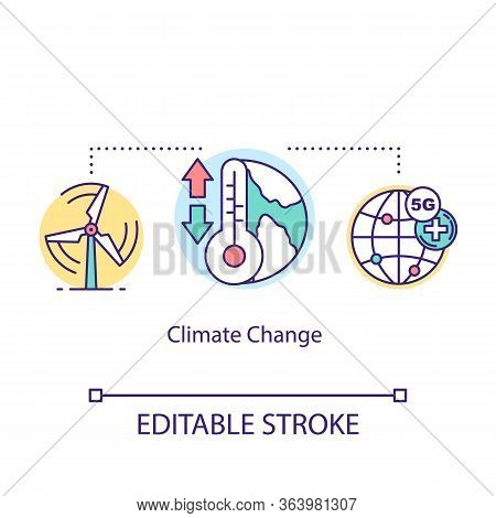 Climate Change Concept Icon. 5g Technologies Idea Thin Line Illustration. Metrological Equipment. Cl