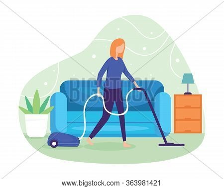 Clean The Floor And Carpet With A Vacuum Cleaner. Woman Cleaning The Dust With A Vacuum Cleaner. Wif