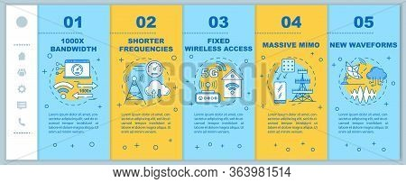 5g Technologies Onboarding Mobile Web Pages Vector Template. Shorter Frequencies. Responsive Smartph