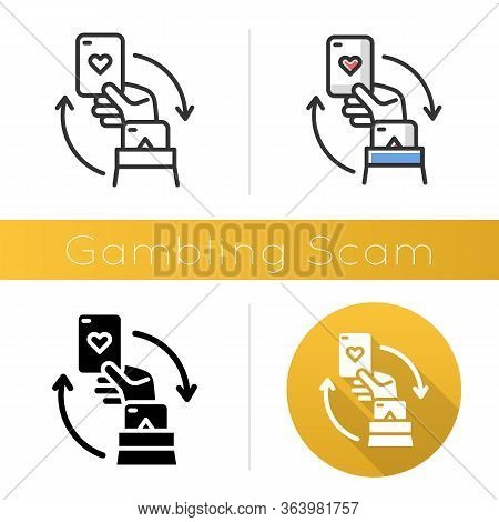 Gambling Scam Icon. Money Betting, Risk Taking. Cheating In Casino. Hand Holding Card. Cybercrime. F