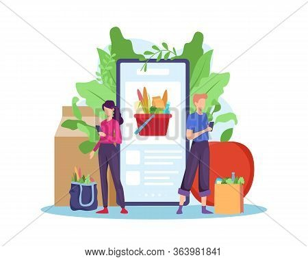 Order Grocery Online. Order With Smartphone, Shopping Online Concept. People Buying Grocery Food Pro