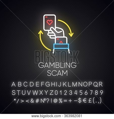 Gambling Scam Neon Light Icon. Money Betting, Risk Taking. Cheating In Casino. Hand Holding Card. Cy