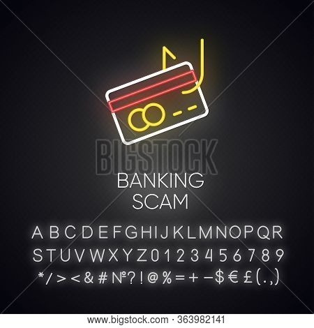 Banking Scam Neon Light Icon. Skimming. Identity Theft. Credit Card Phishing. Financial Fraud. Fake