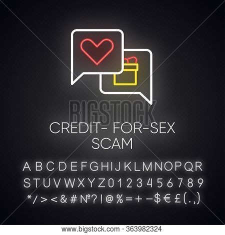 Credit-for-sex Scam Neon Light Icon. Sexual Favours. Dating, Hookup Fraud. Internet, Web Love Scam.