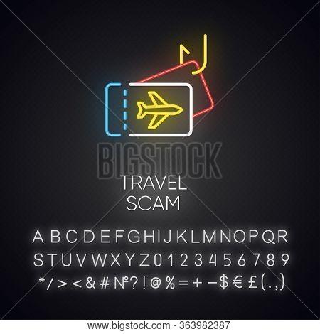 Travel Scam Neon Light Icon. Fake Vacation Ad. Unrealistic Conditions. Free Tickets Trick. Cybercrim