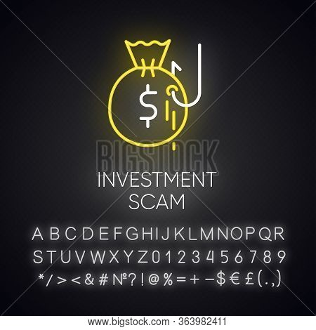 Investment Scam Neon Light Icon. Ponzi, Pyramid Scheme. Financial Fraud. Illegal Money Gain. Cybercr