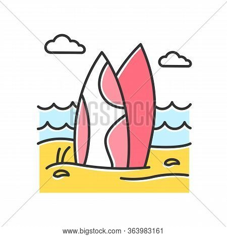 Red Surfboards On The Beach Color Icon. Surf Sea Waves. Vacation Trip To Indonesia. Ocean Surfing Ac