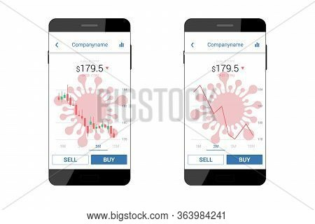 Trading Mobile Interface With Coronavirus Icon For Stock Exchange. Vector Illustration