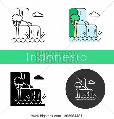 Waterfall Landscape Icon. Vacation To Indonesia. Hidden Treasure Of Bali. Tropical Jungle Rivers. Wa