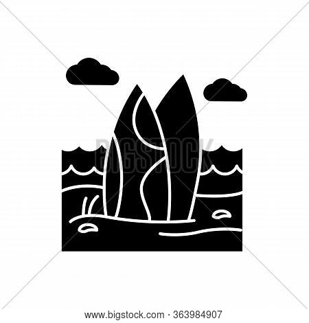 Surfboards On The Beach Glyph Icon. Surf Sea Waves. Vacation Trip To Indonesia. Ocean Surfing Activi
