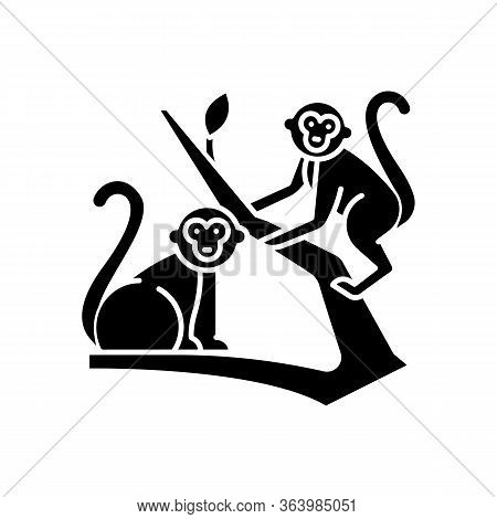 Monkeys In Jungle Glyph Icon. Tropical Country Animals, Mammals. Exploring Exotic Indonesia Wildlife