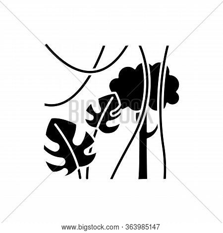 Rainforest Plants Glyph Icon. Evergreen Forest Vines. Swiss Cheese Plant And Lianas. Trip To Indones