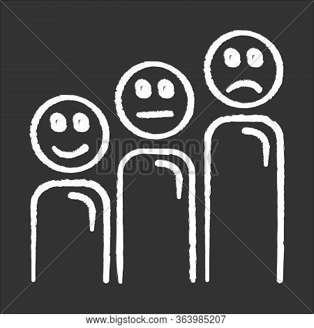 Satisfaction Level Chalk Icon. Customer Experience. Negative, Positive And Neutral Emoticons. Social