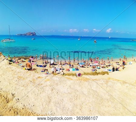 Panorama Of The Maritime Beach Of Cala Comte In Ibiza In Balearic Island