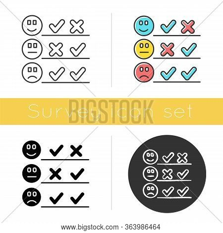 Checklist Icon. Choosing Option. Good, Bad, Neutral Experience. Voting. Agree, Disagree. Satisfactio