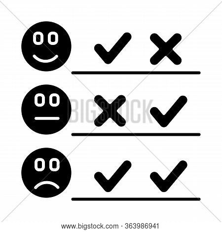 Checklist Glyph Icon. Choosing Option. Good, Bad, Neutral Experience. Voting. Satisfaction Level. Po