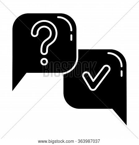Question And Answer Glyph Icon. Faq Sign. Question Mark In Speech Bubble. Ask And Answer. Chat, Dial