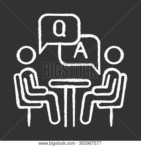 Personal Interview Survey Chalk Icon. Questions And Answers Poll. Social Research. Consumer, Custome