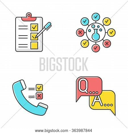 Survey Methods Color Icons Set. Telephone Poll. Chemical Analysis. Questionnaire. Interview. Public
