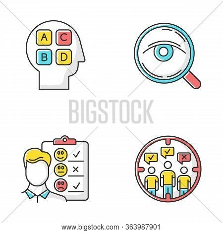 Survey Methods Color Icons Set. Analysis. Interview. Emotional Opinion. Target Population. Public Op