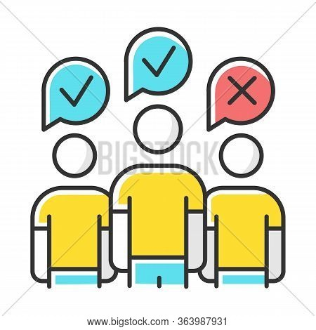 Community Survey Color Icon. Group Administered Questionnaire. Public Opinion Polling. Social Resear