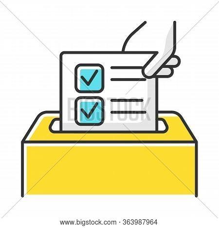 Anonymous Survey Color Icon. Ballot Box. Feedback Form. Opinion Polling. Social Research. Evaluation