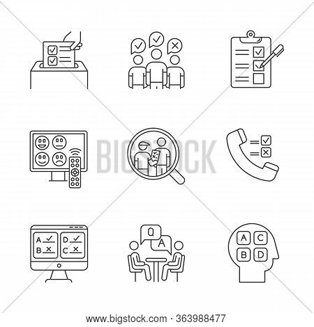 Survey Methods Linear Icons Set. Telephone, Online Poll. Rating. Interview. Public Opinion. Customer