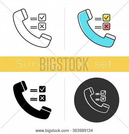 Telephone Survey Icon. Social Research. Opinion Poll. Consumer, Customer Satisfaction. Feedback. Eva