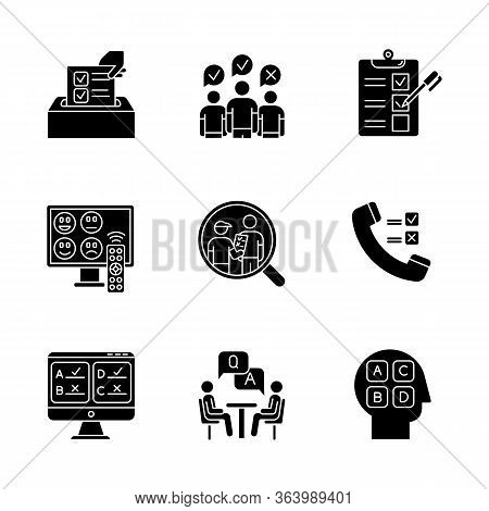 Survey Methods Glyph Icons Set. Telephone, Online Poll. Rating. Interview. Public Opinion. Customer