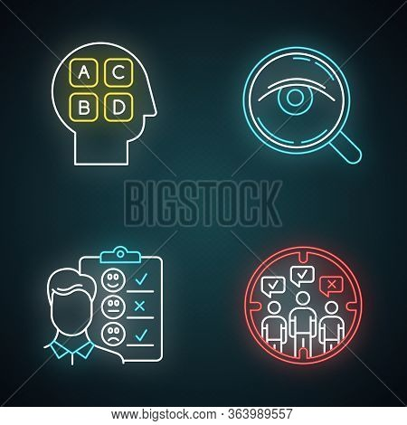 Survey Methods Neon Light Icons Set. Analysis. Interview. Emotional Opinion. Target Population. Publ