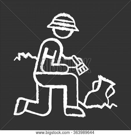 Excavation Chalk Icon. Archeologist. Researcher. Ancient Culture Research. Artifact In Ground. Greek