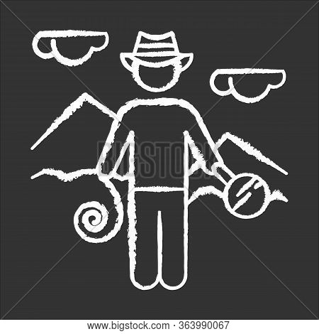 Adventurer Chalk Icon. Man In Hat With Tools. Discovery Of Egyptian Artifacts. Treasure Hunter. Pyra