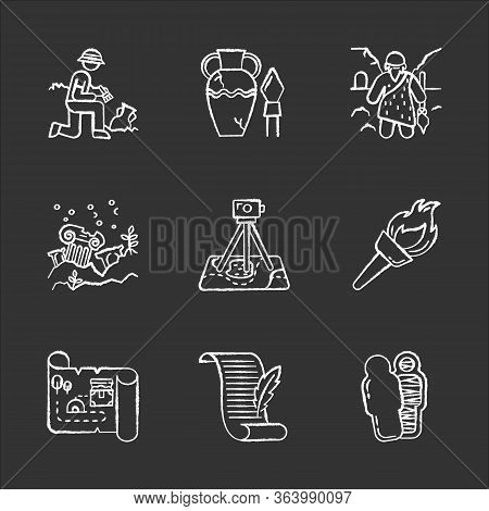 Archeology Chalk Icons Set. Excavation And Research. Archeologist. Ancient Artifacts. Caveman. Ruins