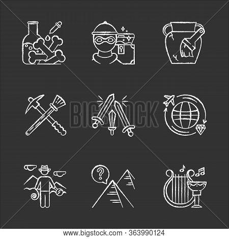 Archeology Chalk Icons Set. Lab Research. Marauding. Artifact Restoration Equipment. Sword Fight. Tr