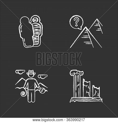 Archeology Chalk Icons Set. Mummy In Sarcophagus. Pyramids. Egyptian Culture Mysteries. Researcher I
