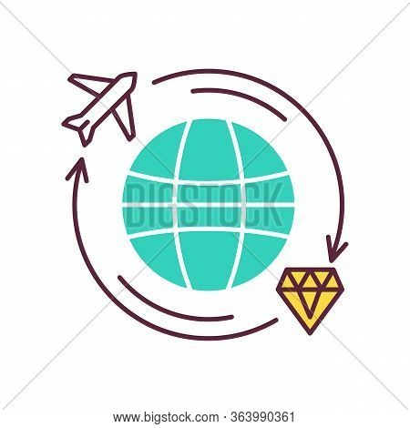 Treasure Hunt Color Icon. Worldwide Search For Ancient Artifacts. Discover Jewels. Travel To Explore