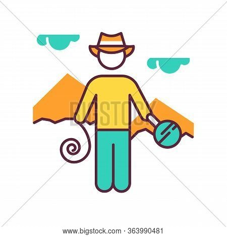 Adventurer Color Icon. Man In Hat With Tools. Discovery Of Egyptian Artifacts. Treasure Hunter. Pyra