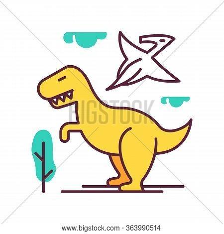 Dinosaurs Color Icon. Prehistoric Animals. Tyrannosaurus Rex. Flying Pterodactyl. Jurassic Park. Dan
