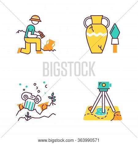 Archeology Color Icons Set. Excavation And Research. Ancient Artifact. Amphora And Spear. Lost Citie