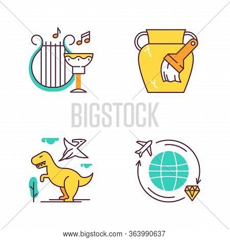 Archeology Color Icons Set. Ancient Culture. Lyre And Goblet. Amphora Restoration. Dinosaurs. Prehis