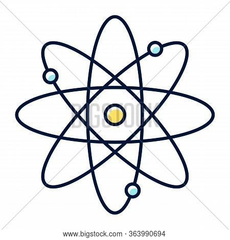 Molecule Atom Color Icon. Nuclear Energy Source. Atom Core With Electrons Orbits. Science Symbol. Qu