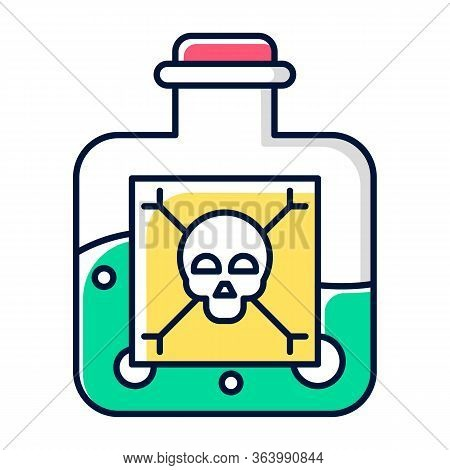 Dangerous Liquid Color Icon. Highly Hazardous Chemicals. Green Poison In Bottle. Organic Chemistry.