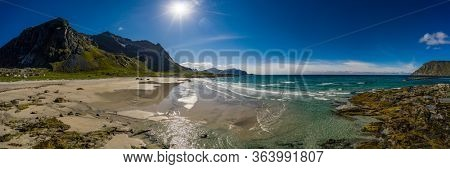 Panorama Beach Lofoten islands is an archipelago in the county of Nordland, Norway. Is known for a distinctive scenery with dramatic mountains and peaks, open sea and sheltered bays, beaches